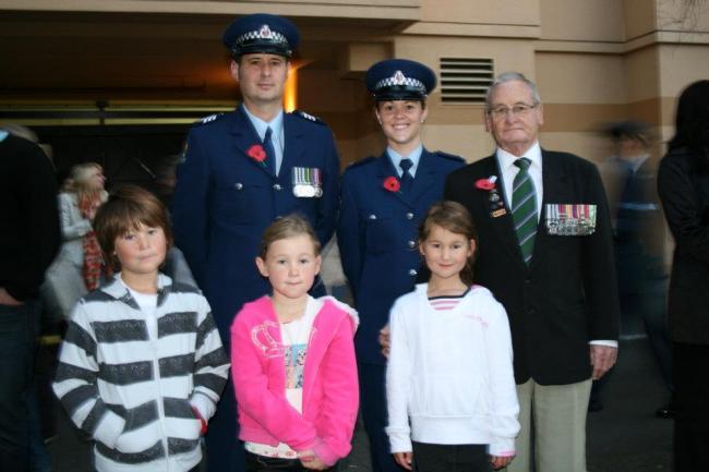Joe Tate and family members on Anzac Day, 2010