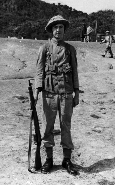 Frank Wydur during compulsory military training, 1952