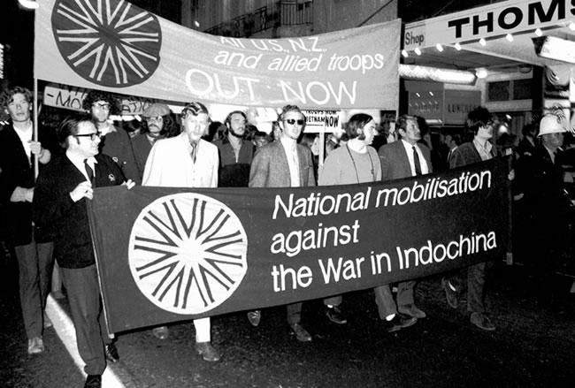 Anti-Vietnam War protest march in Wellington, 1971