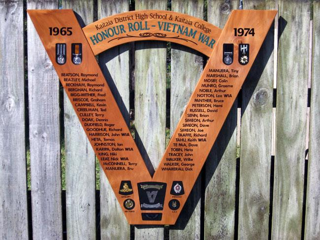 Kaitaia District High School & Kaitaia College Vietnam War Honour Roll