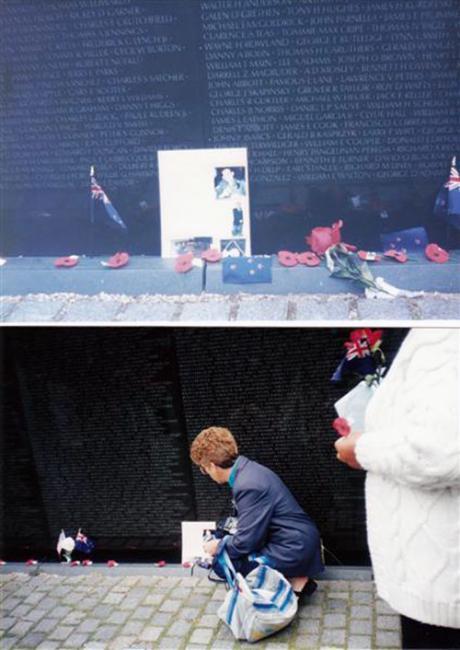 Lynne Hawkins at the Vietnam Veterans Memorial in Washington DC
