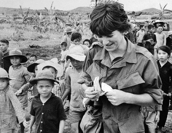 War correspondent Kate Webb at a Vietnamese refugee camp