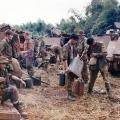1 Pl V6 Coy prior to second assault on bunker, Operation Hermit Park, 1971