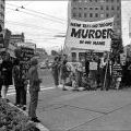 Anti-war protesters outside Auckland Town Hall, 12 May 1971