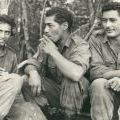 Awaiting a resupply, circa 1967-1968. Left to right: Pat Nuku, Ben Hetaraka, and George Taia