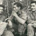 Awaiting a resupply, circa 1967-1968. Left to right: Pat Nuku, Ben Hetaraka, and George Taia