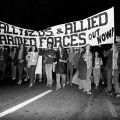 Protesters march on the United States Consulate in Auckland, 1972