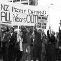 Anti-Vietnam War protesters outside the Auckland Town Hall, 12 May 1971