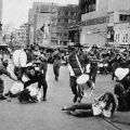 Protesters interrupt 161 Battery parade in Auckland, 1971