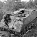 Burnt out Australian APC at FSB Coogee, May 1968