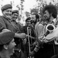 Fred Summer and Kevin Rongonui share a joke with New Zealand soldiers at Nui Dat, 1969
