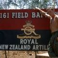 Kevin Burnell next to the 161 Battery sign at Nui Dat