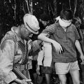 New Zealand soldier with Viet Cong prisoner, 1969